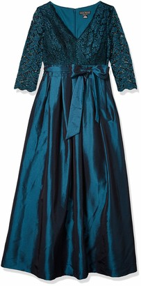 Jessica Howard Women's Surplus Bodice Dress with Pleated Skirt and Tie Sash
