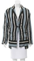 Public School Striped Single Button Blazer