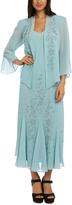 R & M Richards Slate Embellished Shift Gown & Jacket - Plus