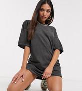 Asos DESIGN Petite oversized t-shirt dress with raw edge in dark grey