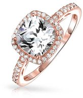 Bling Jewelry Rose Gold Plated Silver CZ Cushion Cut Halo Engagement Ring