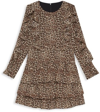 Bardot Junior Girl's Whit Ra Ra Leopard-Print Ruffled Dress