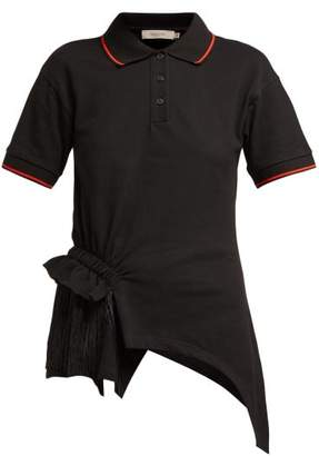 Preen Line Fringed Cotton Polo Shirt - Womens - Black Multi