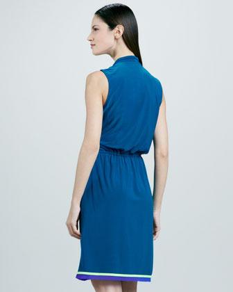 T Tahari Holley Wrap Knot-Tie Dress