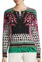 Etro Geometric-Print Silk & Cashmere Twinset