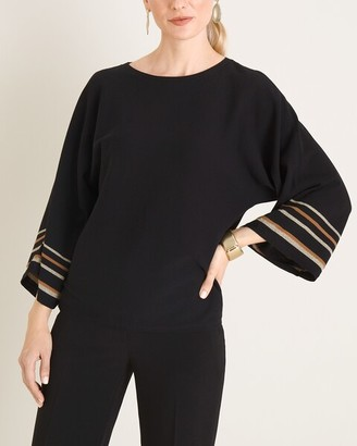 Chico's Striped Kimono-Sleeve Sweater