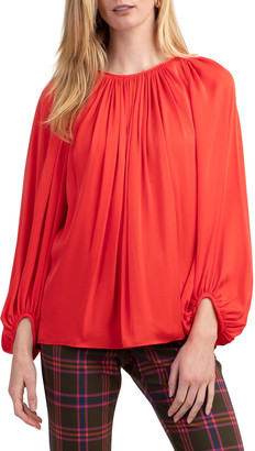 Trina Turk Ali Blouson-Sleeve Ruched Top