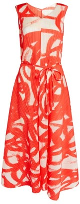Pleats Please Issey Miyake Printed A-Line Pleat Dress