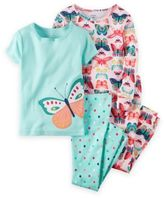 Carter's 4-Piece Butterfly Pajama Set in Aqua