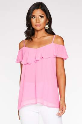 Quiz Pink Cold Shoulder Frill Top