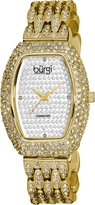 Burgi Women's BUR059YG Tonneau Diamond Crystal Quartz Bracelet Watch
