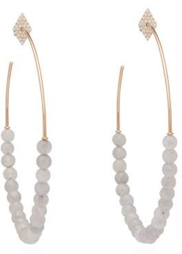 Diane Kordas Diamond, Quartz & 18kt Rose Gold Hoop Earrings - Womens - Grey