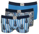 Jockey 3-Pack Cotton Stretch Men's Boxer Trunks, Floral/Pineapple Prints in Blue
