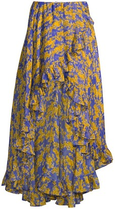 Caroline Constas Adelle Floral Ruffle High-Low Skirt