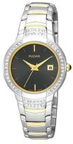 Pulsar Women's PXT715 Dress Sport 58 Swarovski Crystal Black Dial Two-Tone Watch