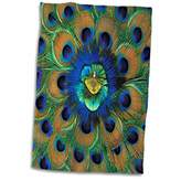 3D Rose Natural Peacock Feather Patterns-As10 Dfr0096-David R. Frazier Hand/Sports Towel