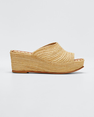 Carrie Forbes Karim Woven Raffia Wedge Slide Sandals