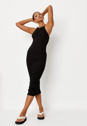 Missguided Black Ribbed 90S Neck Bodycon Midi Dress