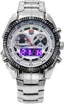 TVG Men's Multi-functional Digital & Analog Display LED Sports Week Stainless Steel Bracelet Watch