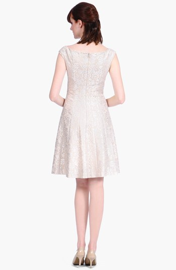 Kay Unger Foiled Brocade Fit & Flare Dress