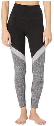 Beyond Yoga Tri-Panel Spacedye High Waisted Midi Leggings (Darkest Night) Women's Casual Pants