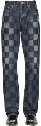 Balenciaga Crafted Checkered Cotton Denim Jeans