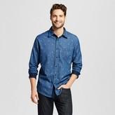 Merona Men's Anchor Print Long Sleeve Button Down Shirt Navy Blue
