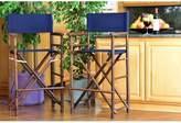 """Bungalow Rose Nadya Bamboo 30"""" Patio Bar Stool Seat Color: Indigo"""