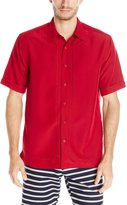 Cubavera Cuba Vera Men's Embroidered L Shape Short Sleeve Woven Shirt