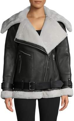 Walter Baker Celine Leather Faux Fur Jacket