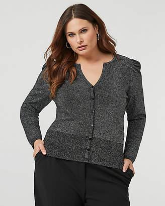 Le Château Metallic Knit Button-Front Cardigan