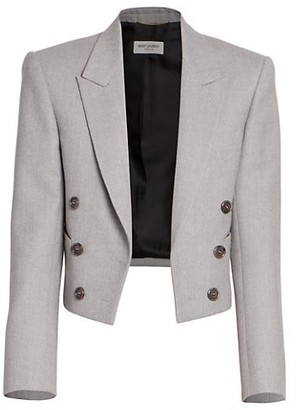 Saint Laurent Cropped Double-Breasted Wool Jacket