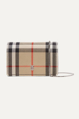 Burberry Checked Canvas And Leather Cardholder - Brown