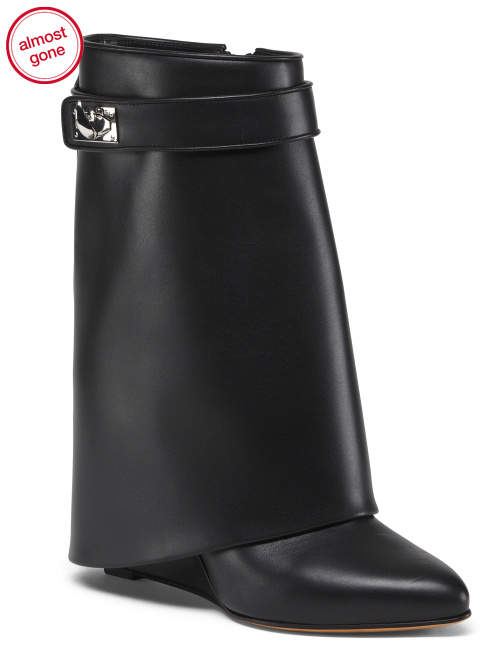 Made In Italy Leather Concealed Wedge Boots