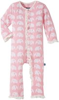 Kickee Pants Print Ruffle Coveralls (Baby) - Lotus Elephant - 3-6 Months