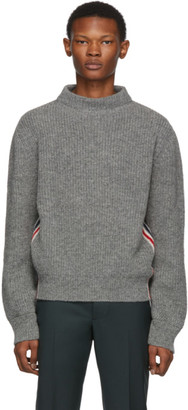 Thom Browne Grey Stripe Relaxed Fit Boat Neck Sweater