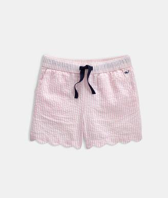 Vineyard Vines Girls' Seersucker Scallop Shorts