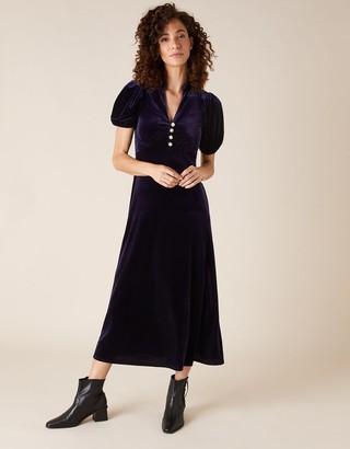 Monsoon Veronique Crystal Button Velvet Shirt Dress Purple