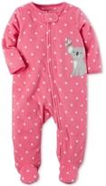 Carter's 1-Pc. Dot-Print Koala Footed Fleece Coverall, Baby Girls (0-24 months)