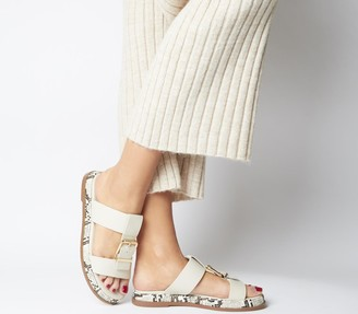 Office Stunner Buckle Strap Mule Sandals Off White Leather Snake Sole
