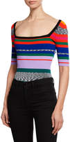 Milly Space-Dye Rainbow-Stripe Square-Neck Tee