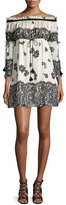 Rachel Zoe Danica Off-the-Shoulder Lace-Print Babydoll Dress, Ecru/Black