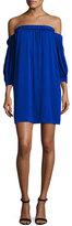 Milly Off-the-Shoulder Stretch-Silk Shift Dress, Cobalt