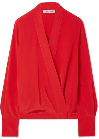 Diane von Furstenberg Silk Crepe De Chine Wrap Blouse - Red