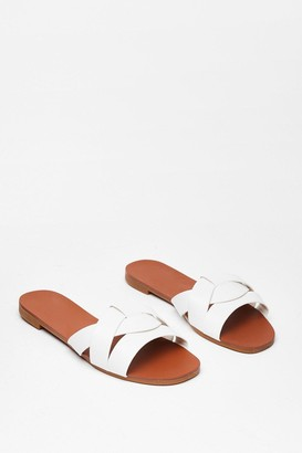 Nasty Gal Womens Don't Let It Slip Faux Leather Flat Sandals - White