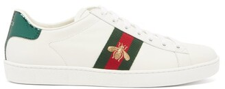 Gucci Ace Bee-embroidered Low-top Leather Trainers - Womens - White