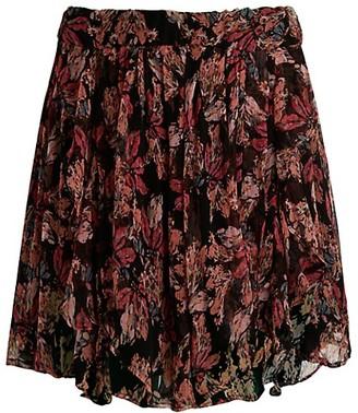 IRO Spin High-Waist Floral Ruffle Skirt