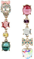 Betsey Johnson Pave Skull, Bow & Heart Mismatched Linear Drop Statement Earrings