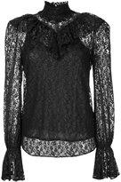 G.V.G.V. foiled lace ruffle high neck blouse - women - Cotton/Nylon - 34