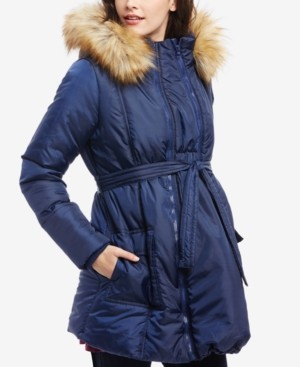 Modern Eternity Maternity Three-In-One Belted Quilted Puffer Coat